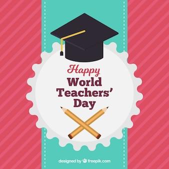 Contexte rouge, journée des enseignants du monde heureux