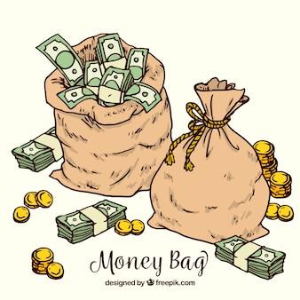 Contexte des sacs tirés à la main avec de l'argent