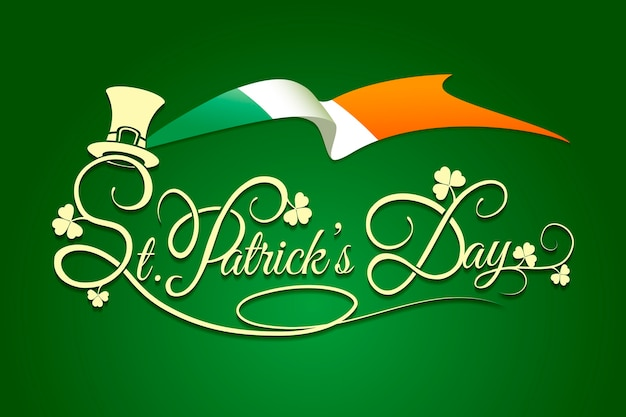 Contexte de la saint patricks day avec le drapeau de l'irlande et le chapeau de lutin