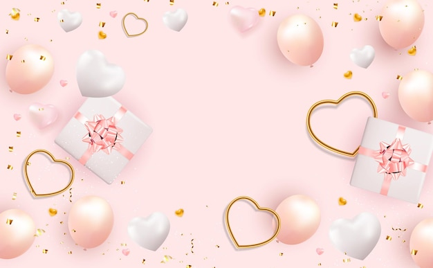 Contexte de la saint-valentin avec boîte-cadeau réaliste et coeur.