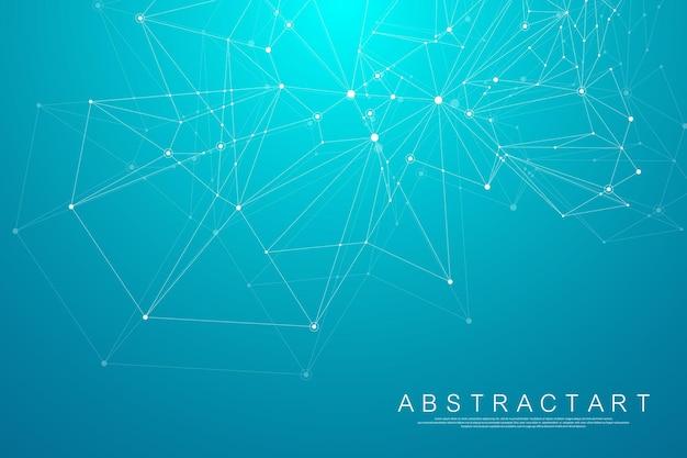 Contexte scientifique polygonal avec des points et des lignes de connexion. effet géométrique abstrait du plexus. arrière-plan de visualisation de données numériques. illustration vectorielle