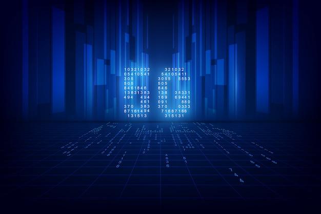Contexte de la technologie 5g. données numériques sous forme de chiffres connectés les uns aux autres