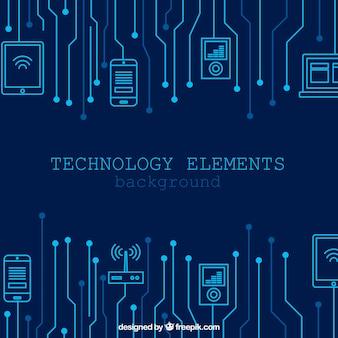 Contexte de la technologie avec des appareils dans le style plat