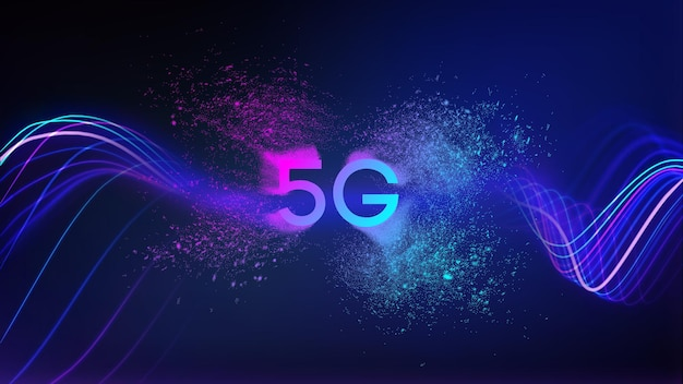 Contexte de la technologie du réseau 5g. concept de transfert de données de vecteur 5g. eps 10