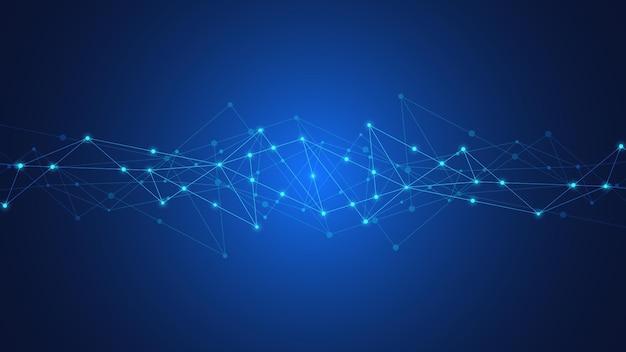 Contexte de la technologie numérique avec des points et des lignes de connexion. contexte technique abstrait de la connexion réseau et de la communication.