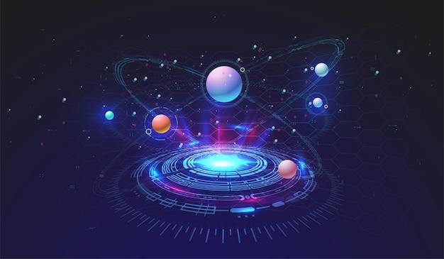 Contexte technologique de haute technologie avec des éléments hud. conception d'interface de cercle futuriste. modèle futuriste abstrait. modèle spatial abstrait.