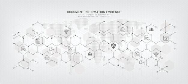 Contexte technologique avec icônes de symboles d'entreprise gestion de documents base de données de documents en ligne et systèmes de stockage de fichiers numériques/enregistrement logiciel de gestion de la base de données technologie d'accès aux fichiers partage de documents