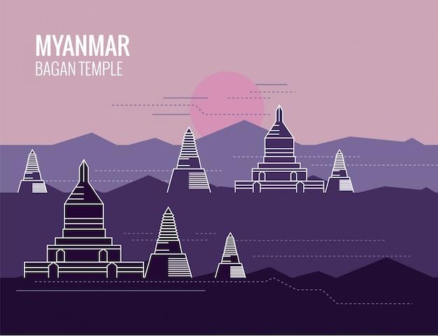 Contexte des temples de myanmar