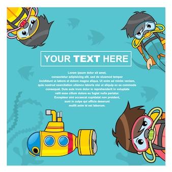 Contexte avec un thème d'exploration sous-marine