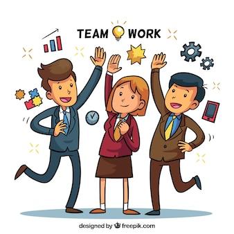 Contexte de travail d'équipe avec des personnes