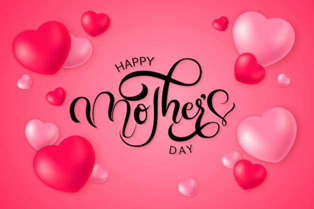 Contexte typographique de la fête des mères heureux