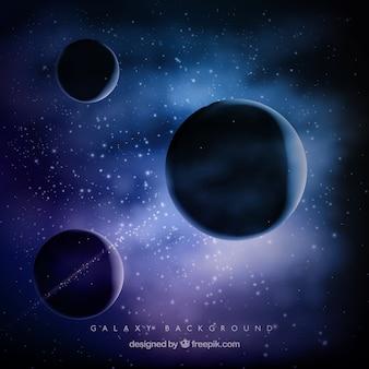 Contexte universel avec trois planètes