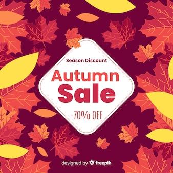 Contexte de vente automne dans un style plat