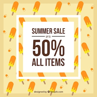 Contexte avec vente d'été et glaces