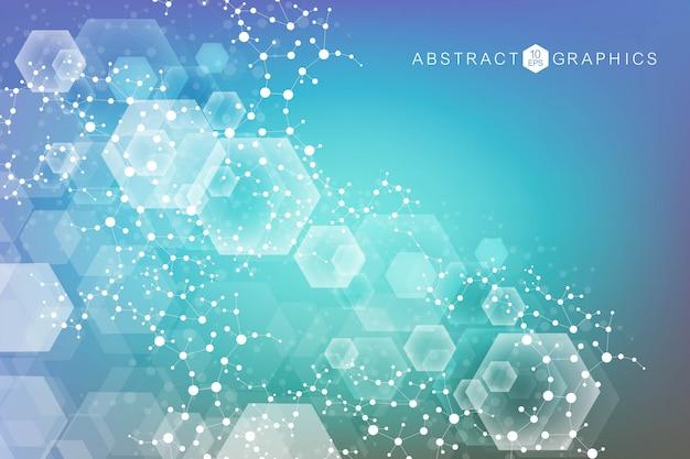 Contexte de visualisation de big data. abstrait virtuel futuriste moderne. modèle de réseau scientifique, lignes de connexion et points. connexion au réseau mondial