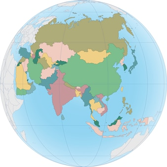 Le continent asiatique est divisé par pays sur le globe