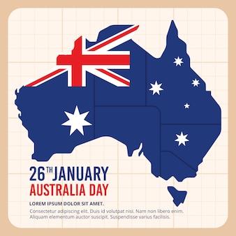 Continent de l'australie avec drapeau
