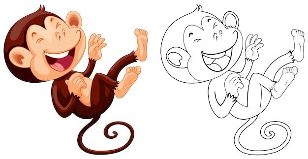 Contour animal pour rire de singe