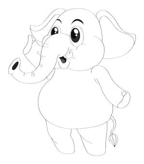 Contour des animaux pour l'éléphant debout