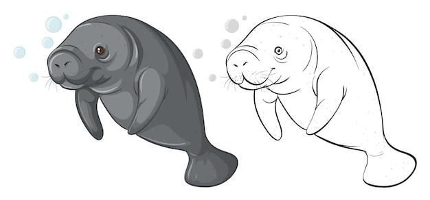 Contour des animaux pour la vache de mer