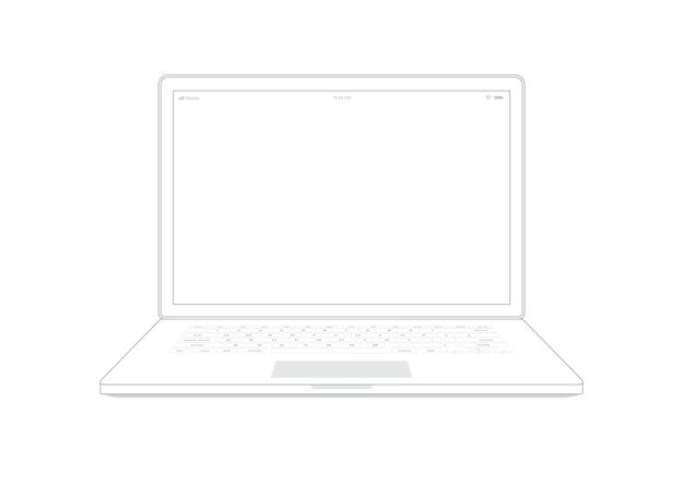 Contour de cahier ordinateur portable sur fond blanc.