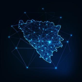Contour de carte de bosnie-herzégovine avec le cadre abstrait d'étoiles et de lignes.