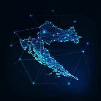 Contour De Carte De Croatie Avec Cadre Abstrait étoiles Et Lignes Vecteur Premium