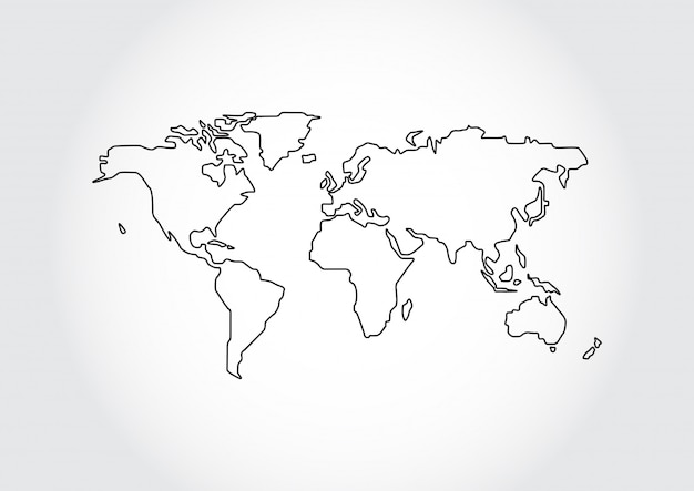 Contour de carte du monde isolé sur fond blanc