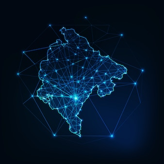 Contour de carte du monténégro avec cadre abstrait étoiles et lignes. communication, concept de connexion.