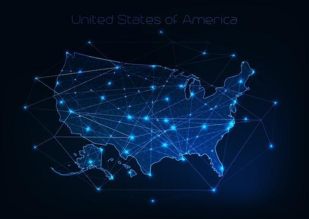 Contour de carte états-unis d'amérique usa avec cadre abstrait d'étoiles et de lignes.