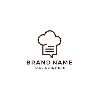 Contour chapeau chef chat recette sociale parler bulle restaurant logo modèle vecteur icône illustration