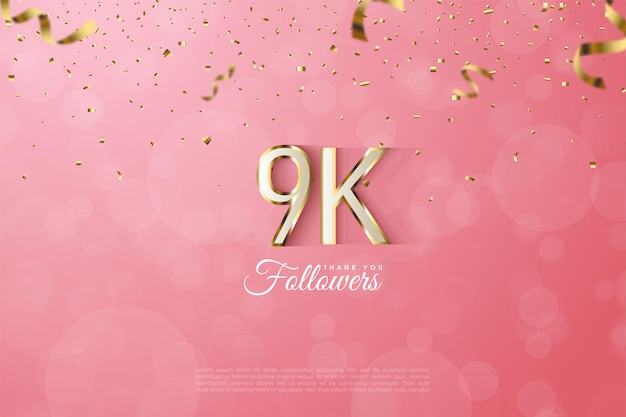 Contour de chiffres en or luxueux pour remercier 9k abonnés