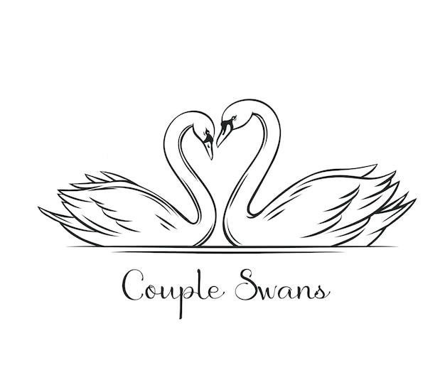 Contour de cygnes de couple. couple d'oiseaux romantiques pour la conception d'invitation de mariage.