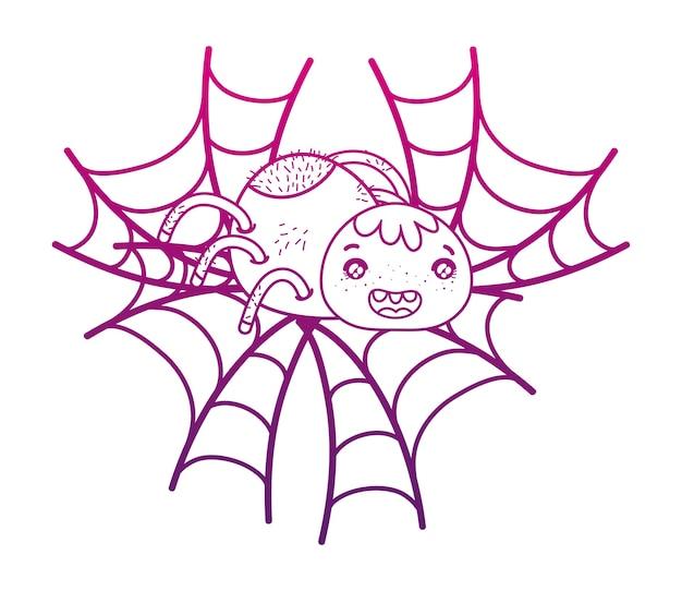 Contour dégradé joyeux araignée personnage animal dans la toile d'araignée