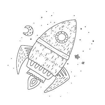 Contour dessiné main fusée de dessin animé
