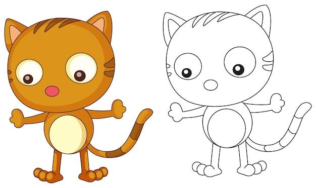 Contour de doodle animal pour chat mignon