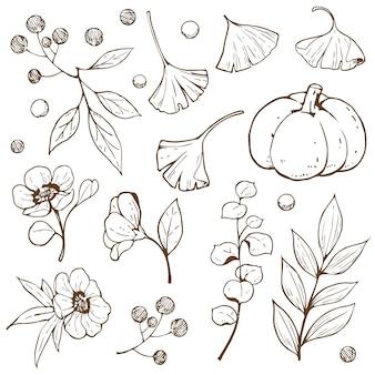 Contour de doodle automne accessoire