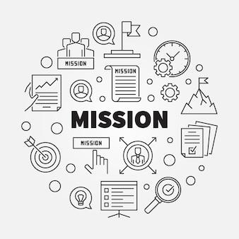Contour du concept de mission icône ronde illustration