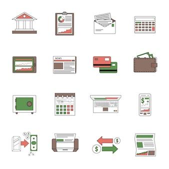 Contour des icônes de la banque