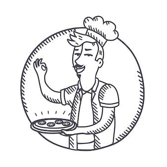 Contour illustration noir et blanc du chef tenant