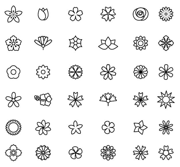 Contour d'illustration vectorielle de jeu d'icônes de fleur