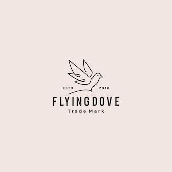 Contour de ligne colombe logo vectoriel hipster vintage icône rétro