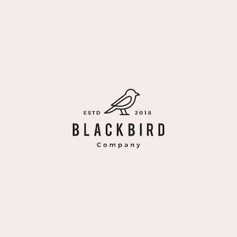 Contour de ligne oiseau logo hipster vecteur rétro vintage