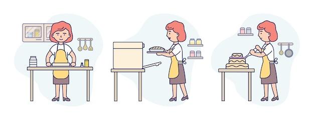 Contour linéaire et couleurs douces. femme, porter, tablier, cuisine, gâteau, dans, trois étapes