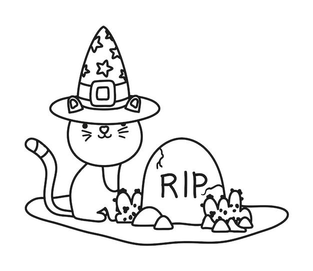Contour mignon chat avec chapeau et rip stone
