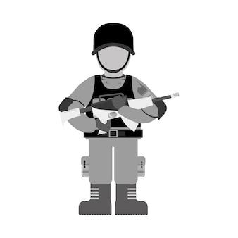 Contour militaire avec ses différents outils de protection et son fusil