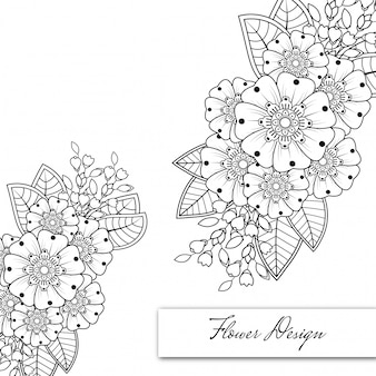 Contour motif floral carré dans le style mehndi. ornement de griffonnage en noir et blanc. illustration de dessin à la main