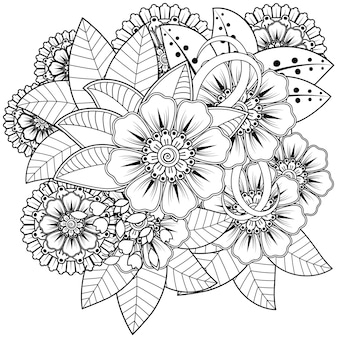 Contour motif floral carré dans le style mehndi. ornement de griffonnage en noir et blanc. illustration de dessin à la main.