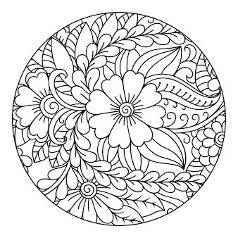 Contour motif floral rond pour colorier la page du livre. doodle en noir et blanc. illustration de dessin à la main.