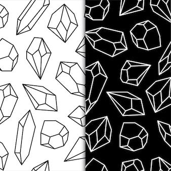 Contour noir et blanc diomand cristaux de roche illustrations de pierres précieuses vecteur premium